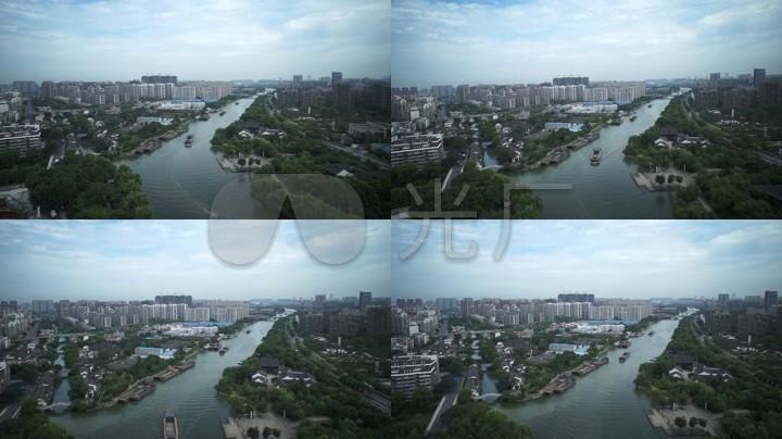 航拍运河杭州城市风光