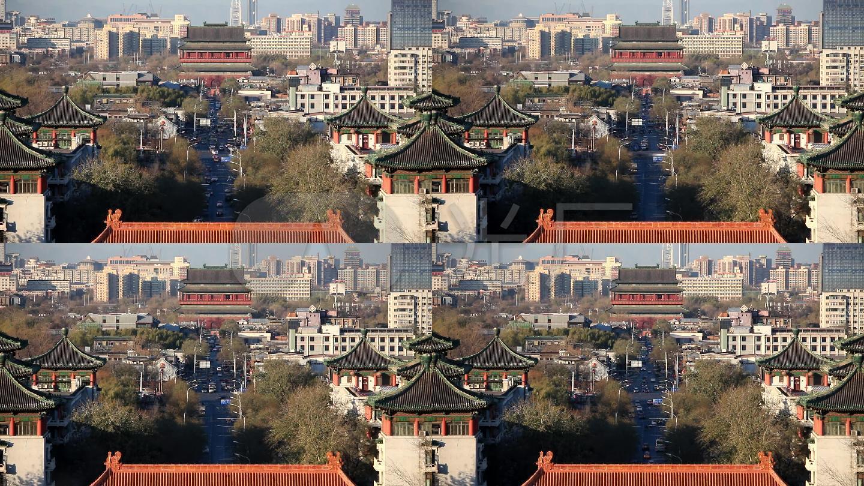 北京景山眺望地安门鼓楼大街北中轴线