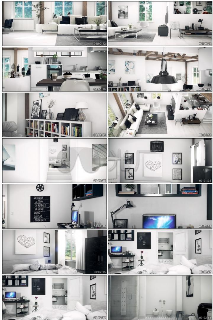 3D房地产别墅时尚室内设计极简单主义简洁