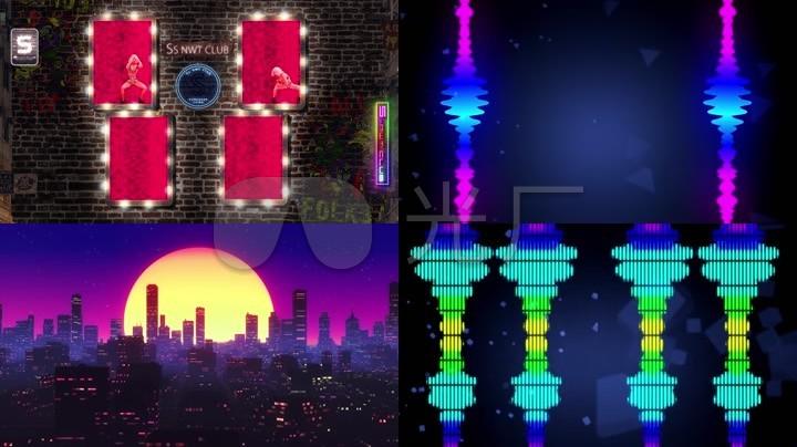 性感复古灯箱音频可视化城市背景视频