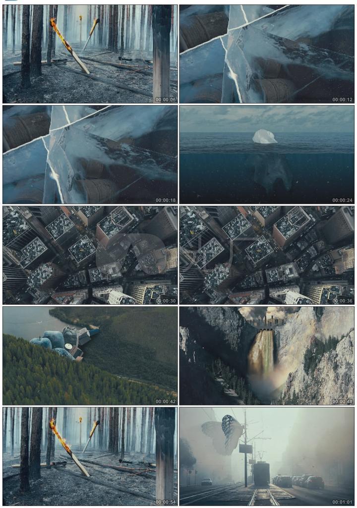一组创意实景嫁接的自然灾害视频