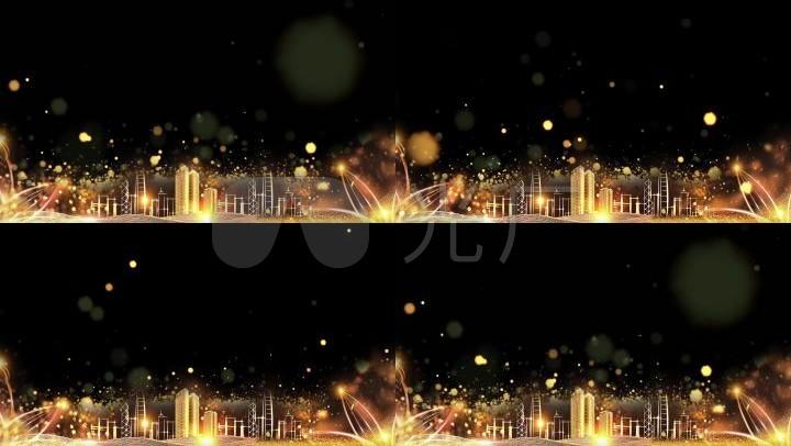 城市地产金色粒子背景