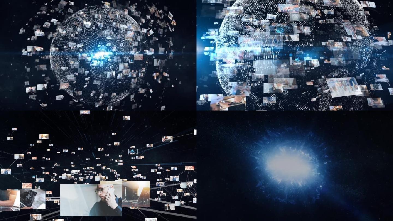 震撼图片汇聚地球科技LOGO片头AE模板