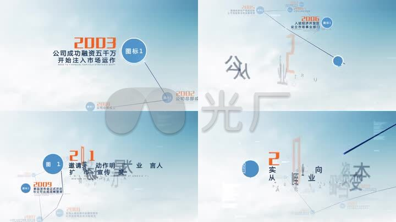 科技企业历史大事记字幕文字展示