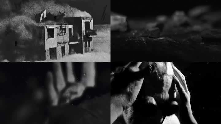 極度痛苦掙扎黑白影像
