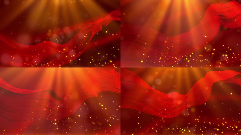 大气党政红绸背景动态循环