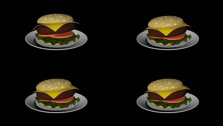 汉堡包美食白模cg动画全息投影