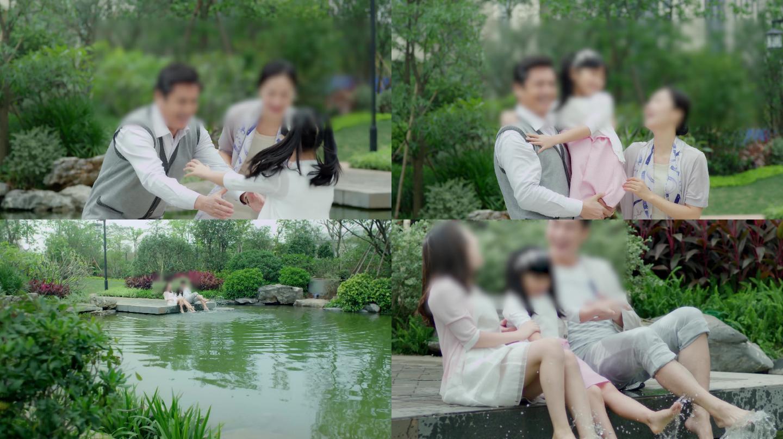4K中式小区玩水跑步亲子家庭幸福生活