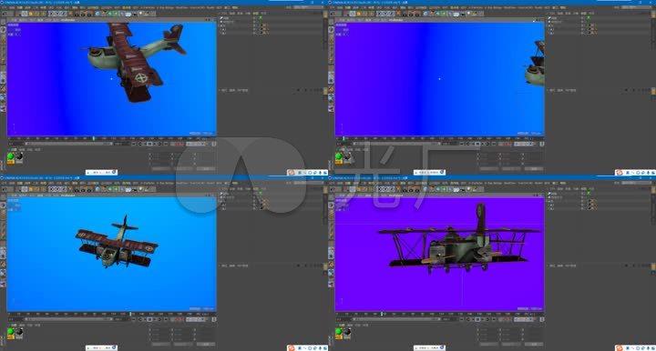 C4D工程文件--制作卡通飞机