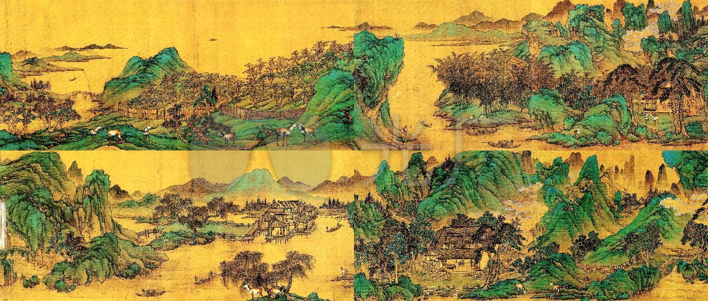 青绿山水水墨国画辋川十景图4K