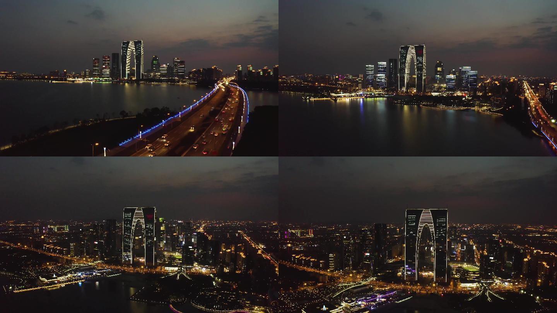 震撼苏州夜景4K国庆生日普天同庆