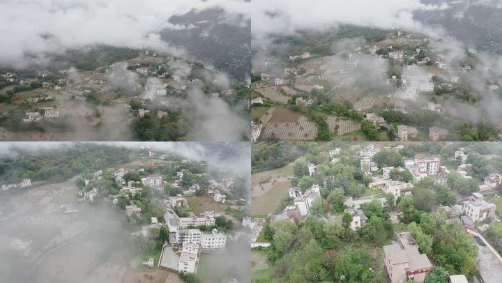 云雾缭绕的丹巴藏寨藏族羌族居民楼