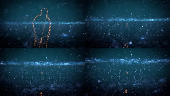 俯拍城市远景背景人群3d三维动画空间线条