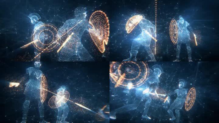 古代罗马士兵-长矛盾牌格斗搏斗3d动画