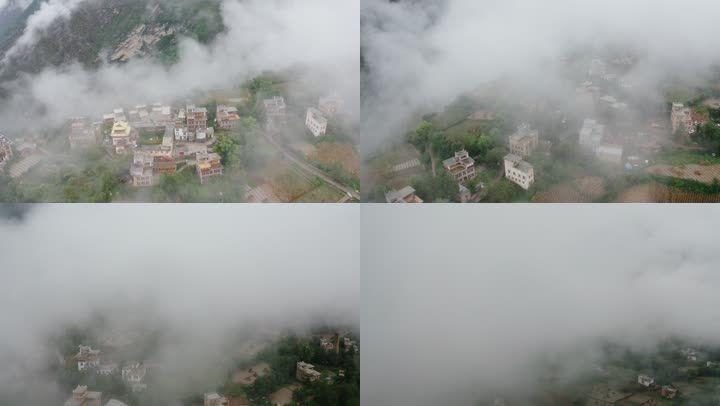 云雾中的村庄:丹巴藏寨藏族羌族居民楼