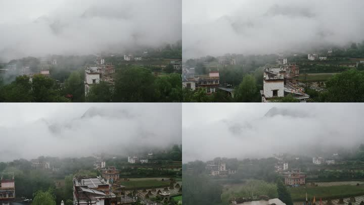 雾气中的丹巴藏寨藏族羌族居民楼