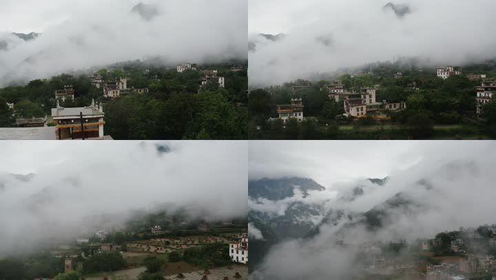 4k航拍丹巴藏寨藏族羌族特色居民楼