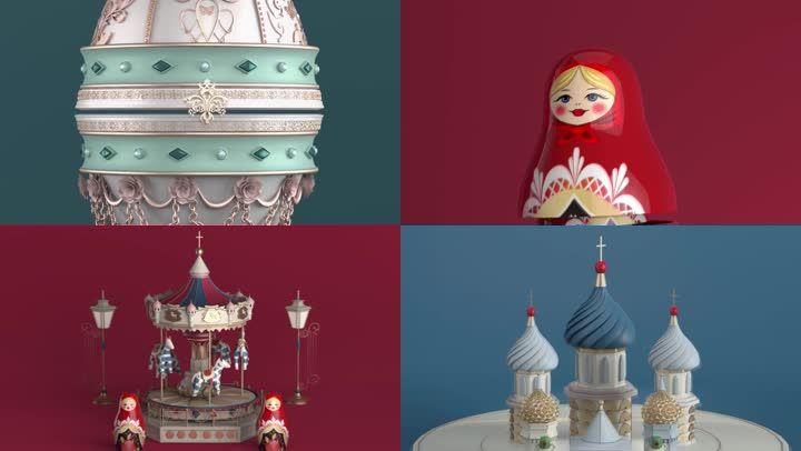 3D音乐盒旋转木马日本娃娃小城堡