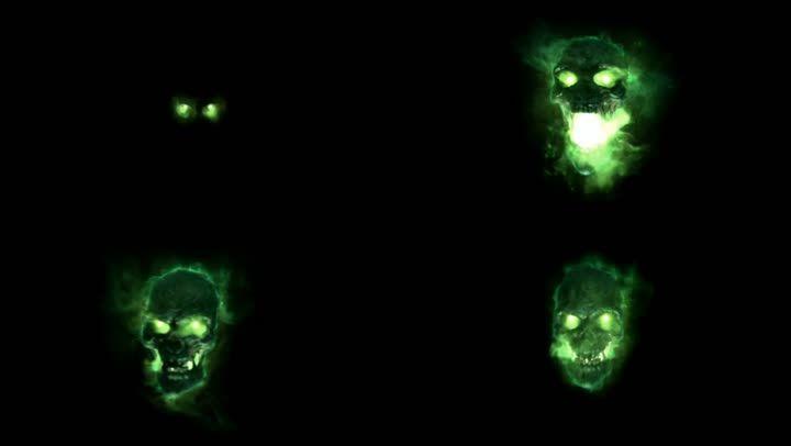 万圣节绿色恐怖骷髅头音视频同步开场