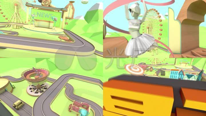 儿童卡通娱乐卡通节目栏目片头C4D+AE