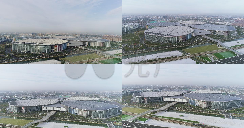航拍国家会展中心4k