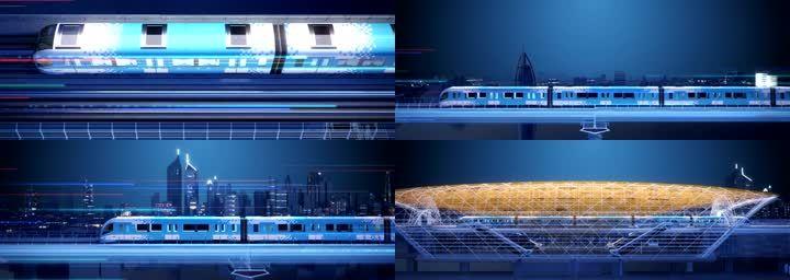 高速行驶的地铁动车高铁
