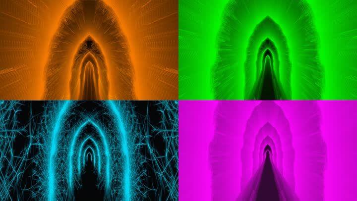 4K全息抽象光线线条空间光效舞台背景