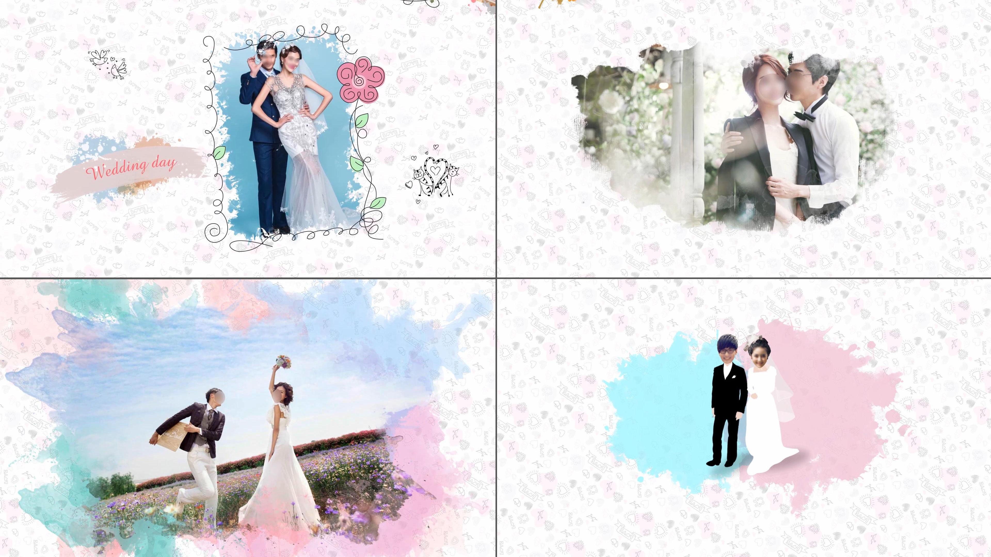 可爱卡通手绘线条简笔画水彩水墨风婚礼视频