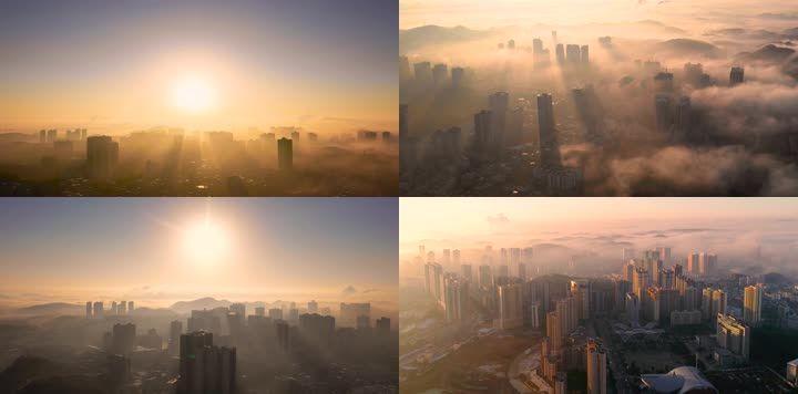 太阳笼罩城市日出