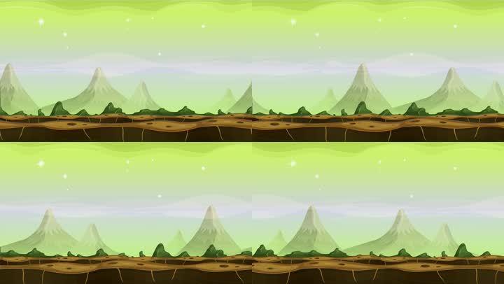 平地山峰景观动画无缝循环
