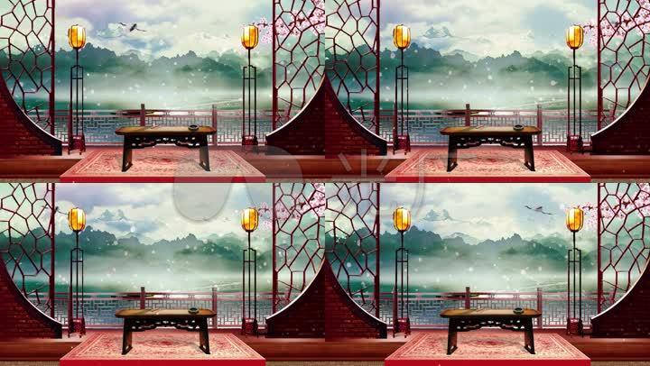 中国风古代书房阁楼舞台背景