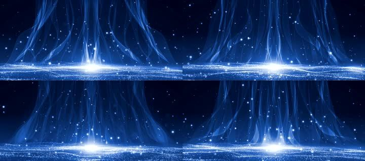 4k唯美波浪粒子KV蓝色光晕背景
