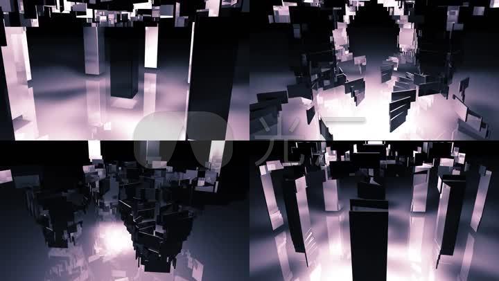 长方形贴片生长循环动画