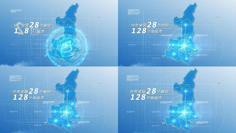 原创陕西地图AE模板