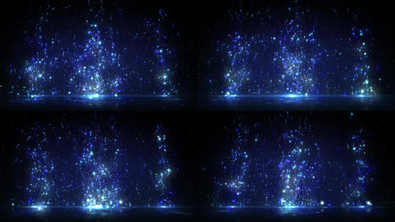 4K梦幻蓝色粒子上升飘动背景循环