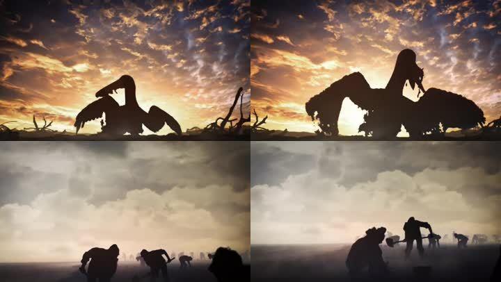 海上石油污染和治理剪影3d三維動畫
