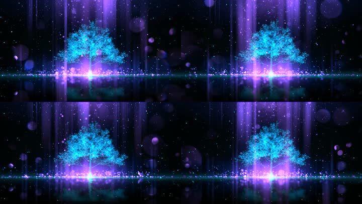 紫色星空蓝色大树