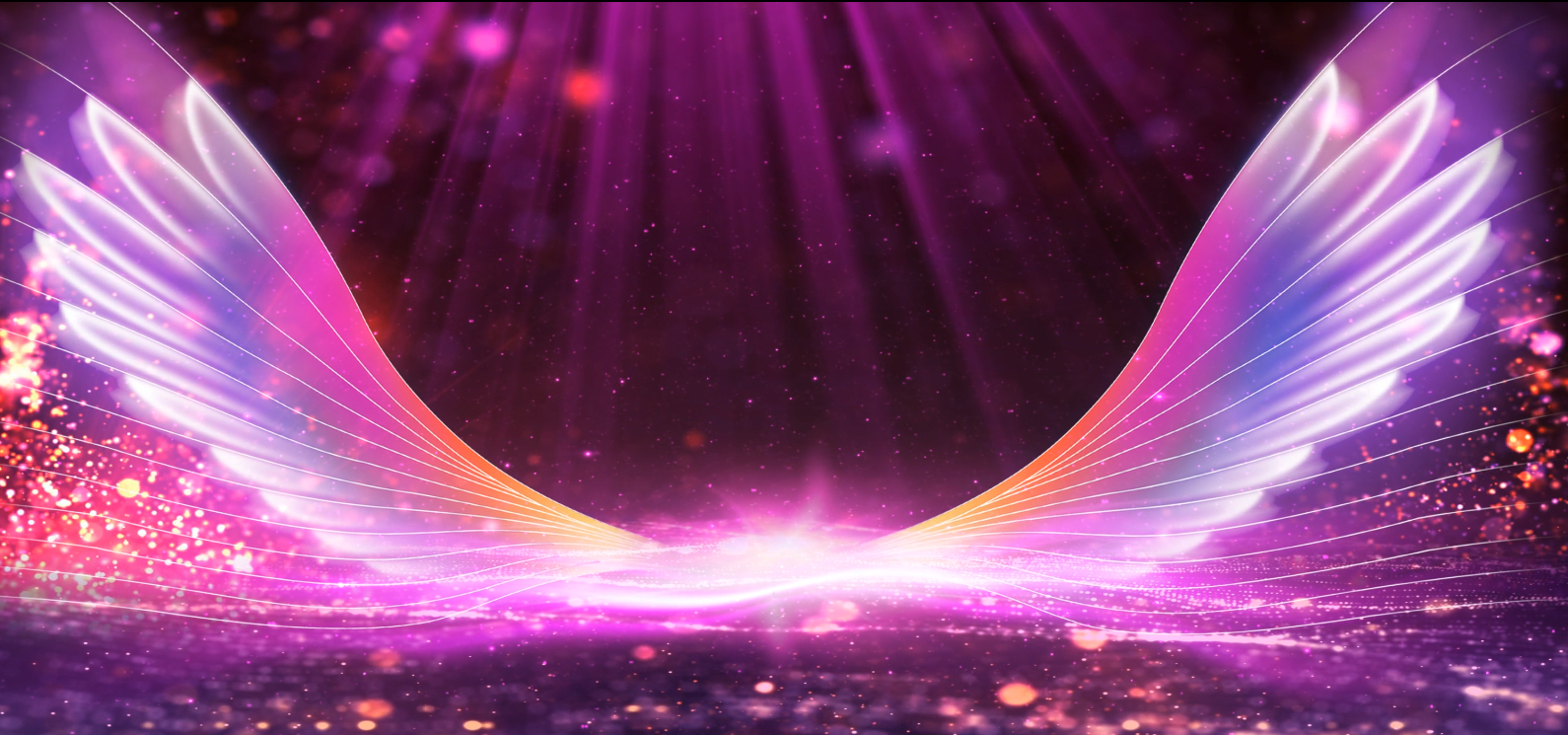 唯美梦幻的翅膀LED大屏背景