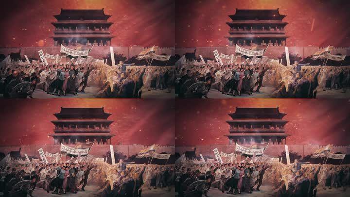 百年五四回响五四运动舞台朗诵情景大屏背景