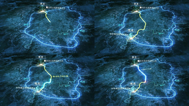 震撼超强科技感区域地图