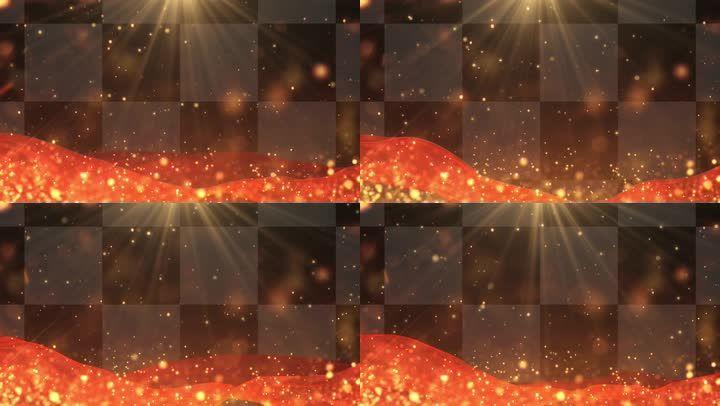 唯美党建光线红绸粒子背景-Alpha通道