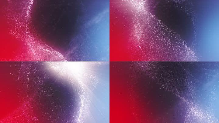 【4K】红蓝背景粒子炫光流动舞台背景素