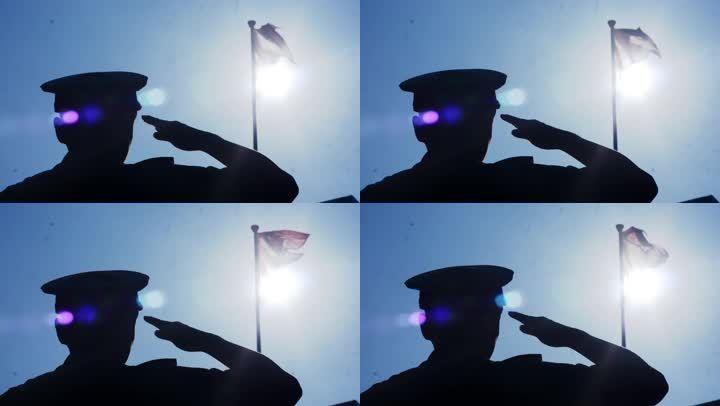国旗剪影敬礼