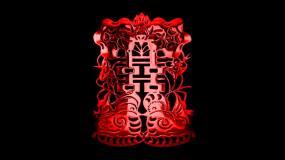 中式结婚婚礼红双喜(透明背景)视频素材
