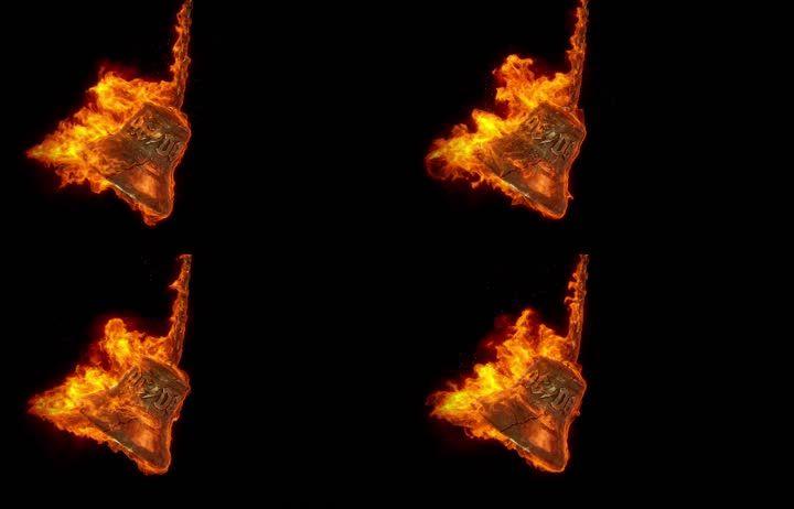 摇晃的冒着火焰的青铜钟