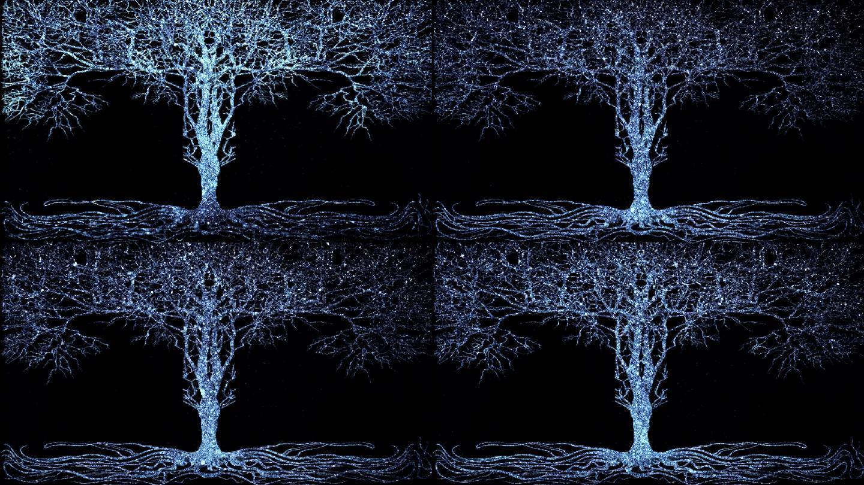 蓝色粒子发光大树婚庆舞台背景