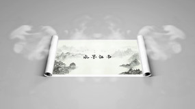 Edius中国风水墨江南古镇卷轴相册模板EDIUS模板
