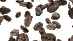 白色背景咖啡豆下落視頻視頻素材