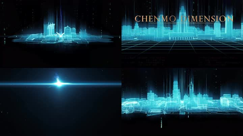 4K开场数字城市线条粒子模拟包装