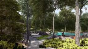 3D动画-森林度假别墅民宿花园泳池永利官网网址是多少